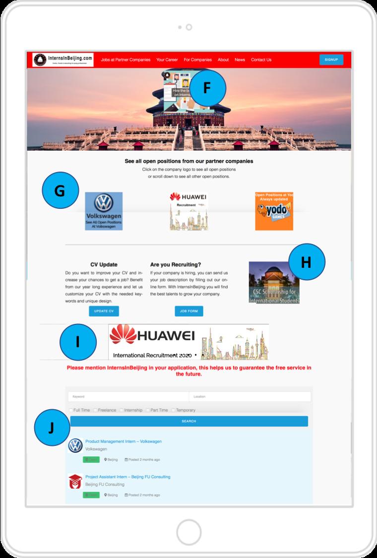 Job listing page InternsInBeijing